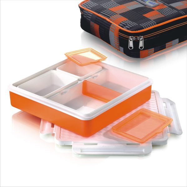 Recipient alimente compartimentat+geanta termica