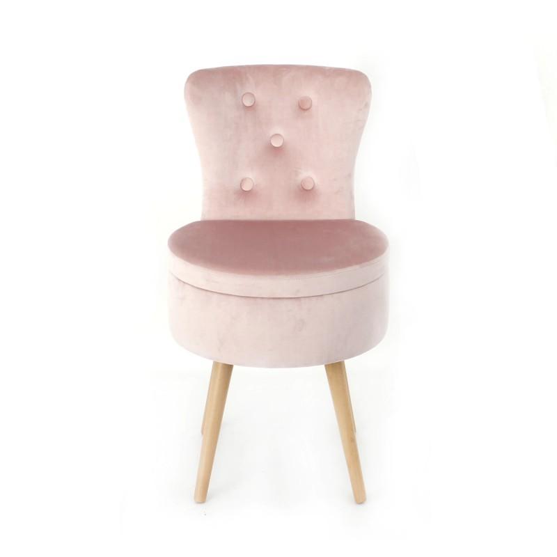 Scaun din lemn cu spatiu depozitare,catifea, 49 x 73 cm,roz