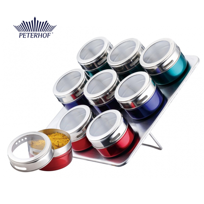 Set 10 piese Condimente cu Suport Magnetic Claudio Peterhof, Recipiente Multicolor,Sticlă,Inox
