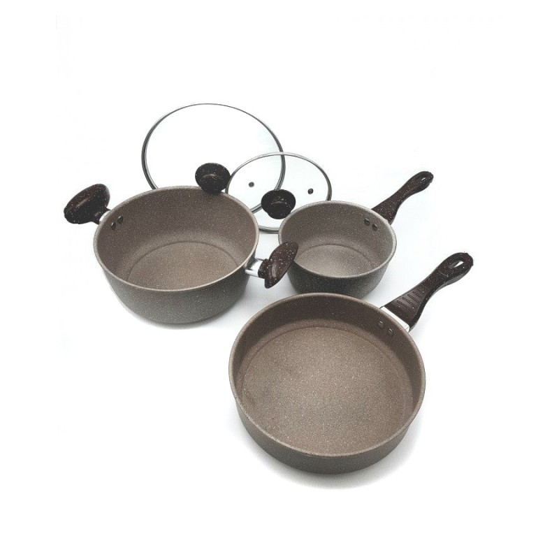 Set 2 Cratite si Tigaie din Granit Hausberg, 19, 25 şi 26 cm, 5 piese, Capac Sticla