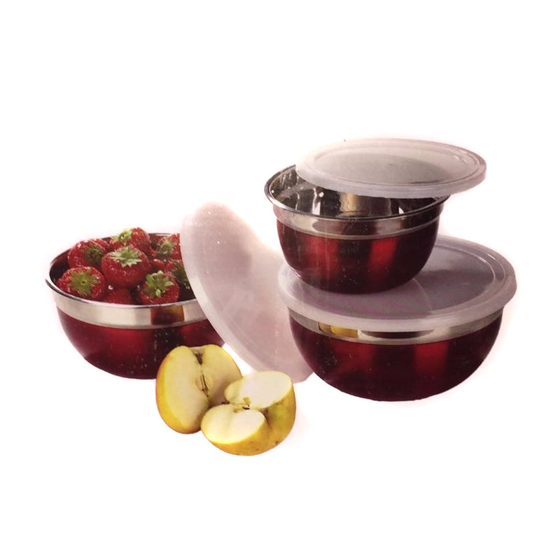 Set 3 Boluri de Inox cu Capac Plastic Grunberg