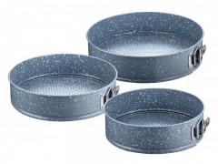 Set 3 Forme Rotunde pentru Copt Peterhof, 24, 26 şi 28 cm,Oţel Carbon cu Granit
