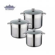 Set 3 Oale Inox cu Capace Sticla Alden Peterhof de 8.5,10 şi 12 Litri cu Bază Triplustratificata,6 piese