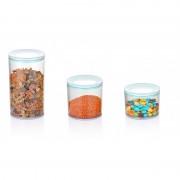 Set 3 recipiente din plastic pentru depozitare