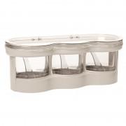Set 3 recipiente din sticla cu suport pentru depozitare,alb