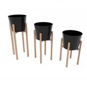 Set 3 suporturi din lemn pentru ghivece flori 26 x 26 x 65,50,32 cm