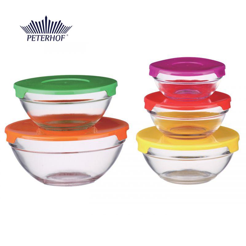 Set 5 Caserole de Sticlă cu Capace colorate Desio Peterhof, 10 piese