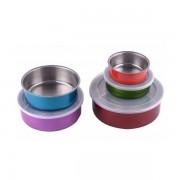 Set 5 Caserole din Inox cu Capac de Plastic, Multicolor