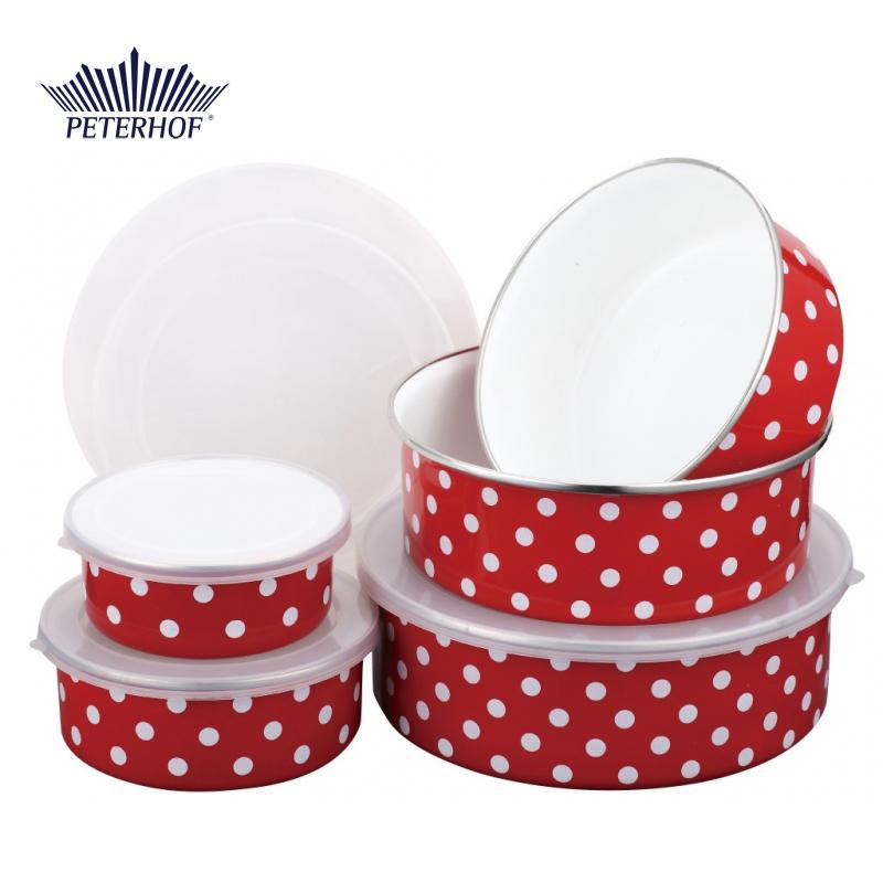 Set 5 Caserole Email cu Capac de Plastic Rosso Peterhof