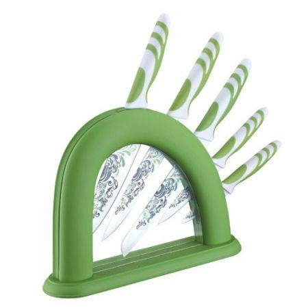 Set 5 cutite ceramice Peterhof cu suport acrilic,verde
