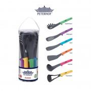 Set 6 Ustensile Gatit Castello Peterhof, Plastic si Silicon, manere multicolore