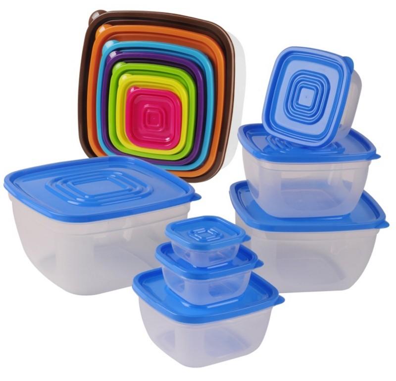 Set 7 Caserole Plastic rezistente cu capace colorate
