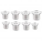 Set 8 oale inox cu capac din sticla,4,5,5.5,7,8.5,10,11.5, 13 Litri