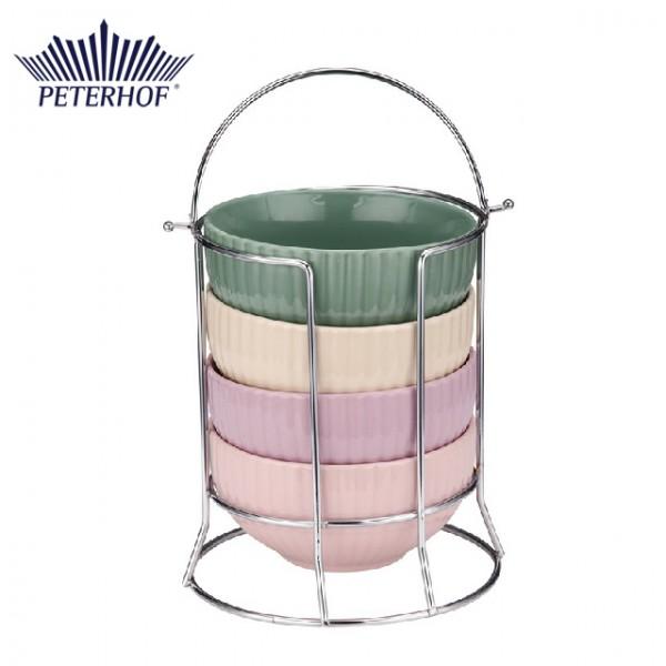 Set 4 boluri din ceramica cu suport cromat Peterhof, 500 ml