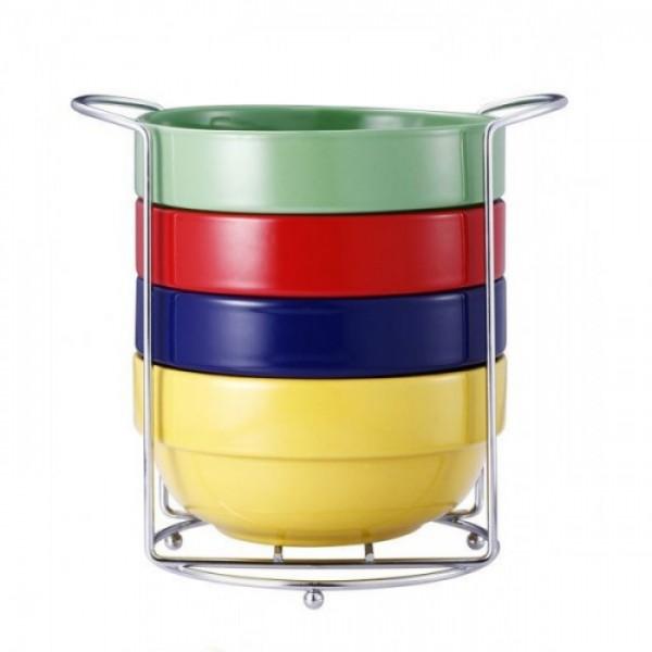 Set boluri ceramica,5 piese,suport cromat, 690 ml