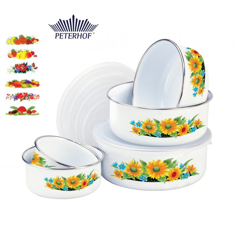 Set 5 caserole Email cu Capac de Plastic Peterhof, 10 piese