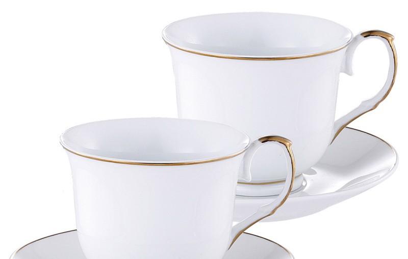 Set 6 cesti de ceai si 6 farfurii din portelan alb, 12 piese