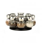 Set condimente 9 piese cu suport rotativ,sticla si inox