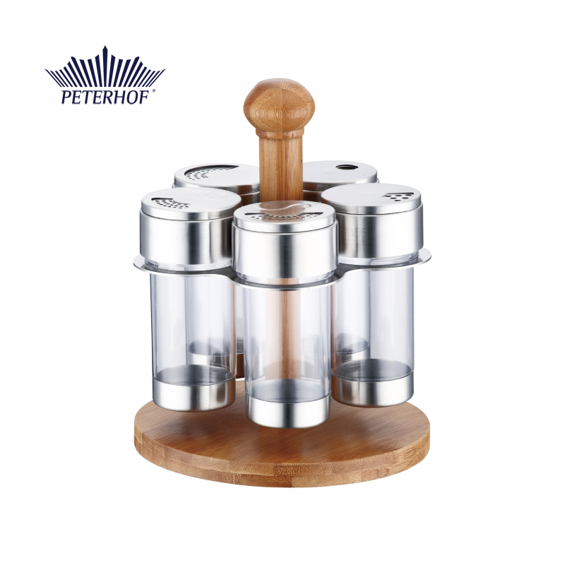 Set Condimente cu Suport din Bambus Pineta Peterhof, 6 piese, Inox,Sticla