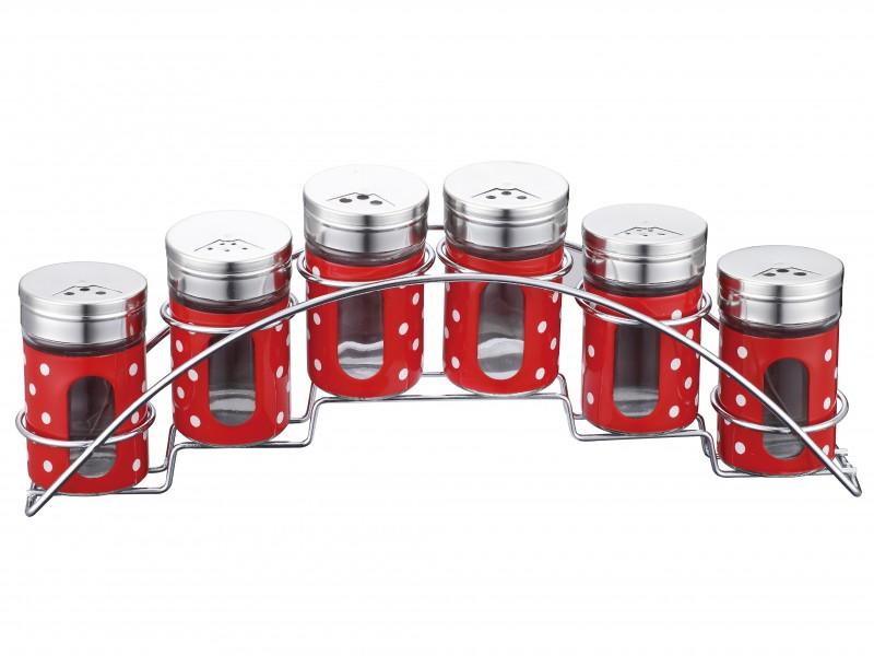 Set condimente cu suport inox 7 piese Peterhof