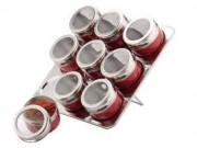 Set Condimente cu Suport Magnetic Claudio Peterhof, 10 piese, Sticlă, Inox