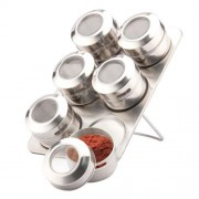 Set condimente din inox - dreptunghiular - 7 piese