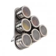 Set Condimente Grunberg cu Suport Magnetic,7 piese, Inox, Model Triunghi