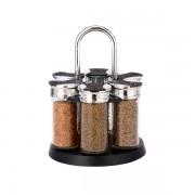 Set Condimente Grunberg cu Suport Rotativ,7 piese, Sticlă şi Inox