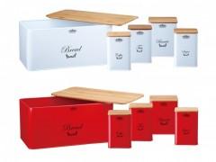 Set cutie paine Peterhof+4 cutii depozitare metal, capac lemn, 10 piese