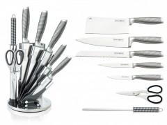 Set cutite inox Royalty Line+suport,8 piese,argintiu