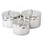 Set de vase pentru gatit din inox,6 piese,capace sticla