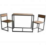 Set masa si 2 scaune din metal si MDF