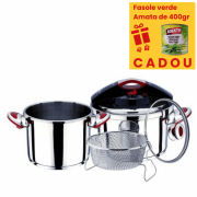 Set oale sub presiune inox,5 piese ,4 si 6 litri, sistem inchidere capac, clips, inductie