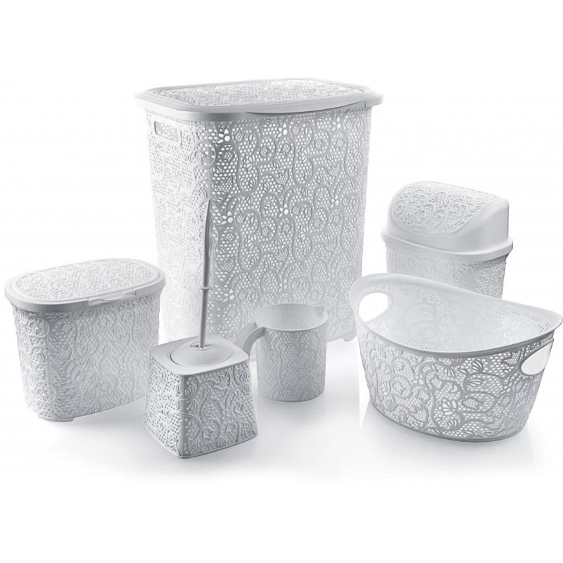 Set pentru baie din plastic 6 piese,alb