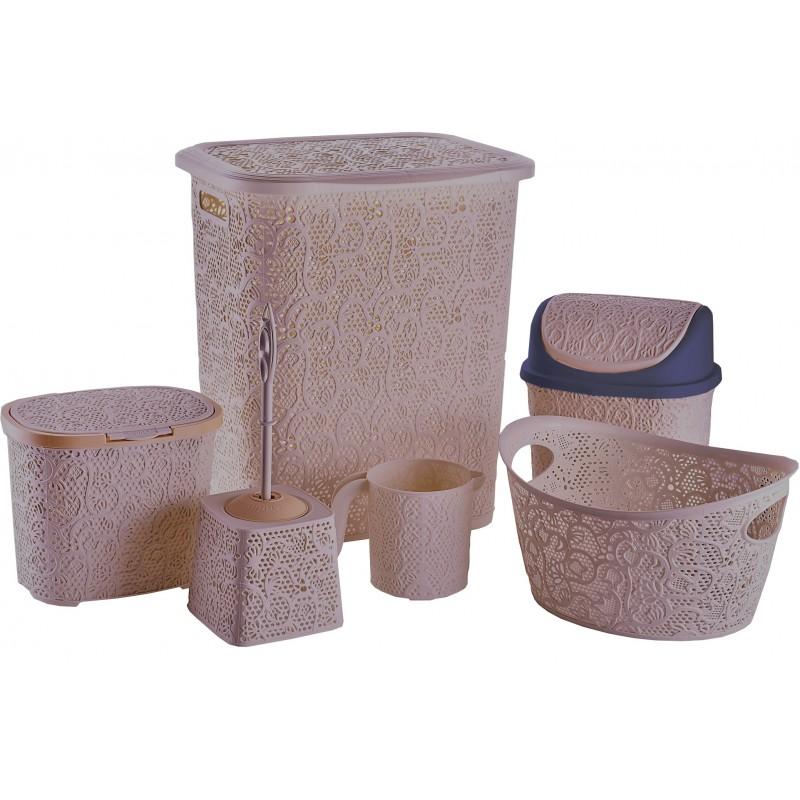 Set pentru baie din plastic 6 piese,roz