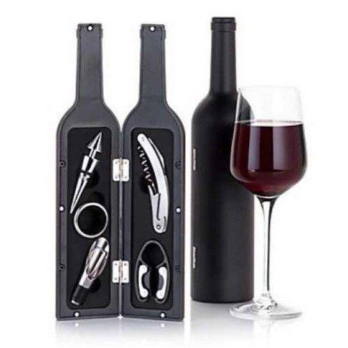 Set 5 accesorii pentru vin in forma de sticla