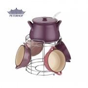 Set Supiera si 4 Boluri Ceramică cu Suport si Polonic Domba Peterhof, 2.5 Litri, 4 x 800 ml