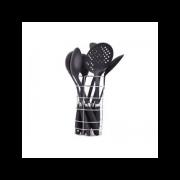 Set ustensile bucatarie 7 piese DeKassa, plastic, stand inclus