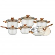 Set vase din inox Grunberg 12 piese,4 oale,1 cratita,1 tigaie, 6 capace sticla