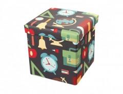Taburet cu Spatiu Depozitare, 38 x 38 cm, piele ecologica,imprimeu Multicolor