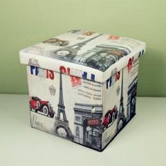 Taburet cu Spatiu Depozitare, 38 x 38 cm, piele ecologica,imprimeu Paris