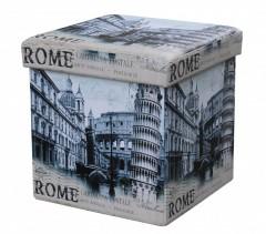 Taburet cu Spatiu Depozitare, 38 x 38 cm, piele ecologica,imprimeu Roma