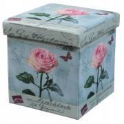 Taburet cu Spatiu Depozitare, 38 x 38 cm, piele ecologica,imprimeu Trandafiri