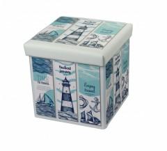 Taburet cu Spatiu Depozitare, 38 x 38 cm, piele ecologica,imprimeu Travel