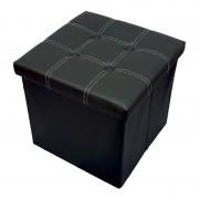 Taburet cu Spatiu Depozitare, 38 x 38 cm, piele ecologica,negru