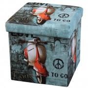 Taburet cu Spatiu Depozitare, 38 x 38 cm, piele ecologica