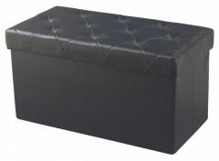 Taburet cu Spatiu Depozitare, 76x38 X38 cm, piele ecologica,Negru
