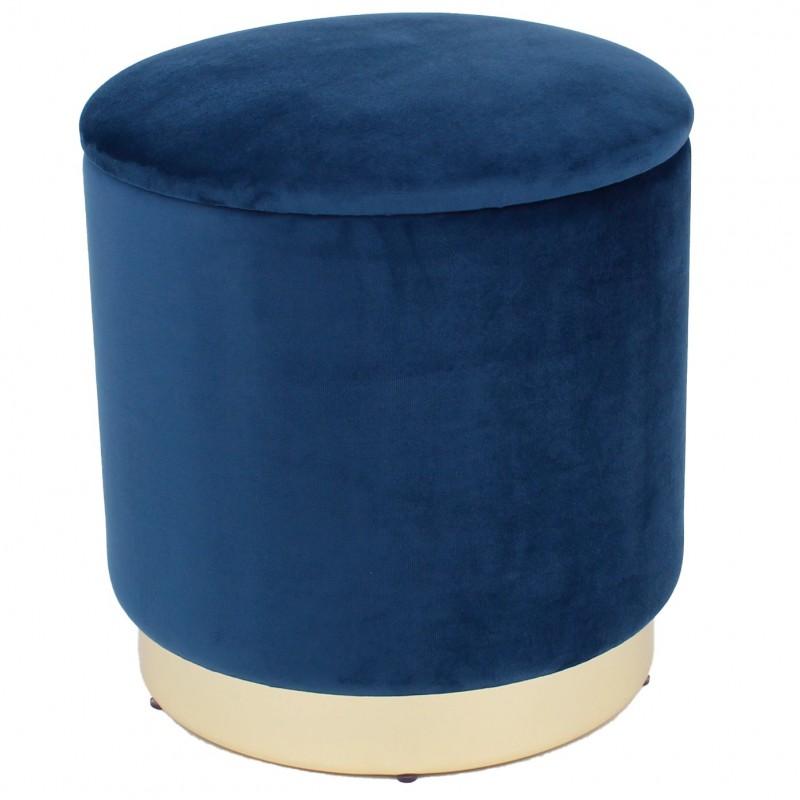 Taburet cu spatiu depozitare,baza metal,catifea, 37x40 cm, albastru