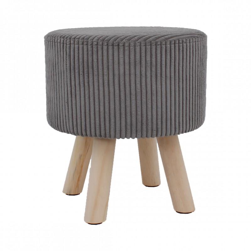 Taburet cu spatiu depozitare,picioare lemn,catifea, 37x41 cm
