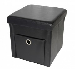 Taburet cu Spatiu Depozitare si Sertar, 38 x 38 cm, piele ecologica,Negru